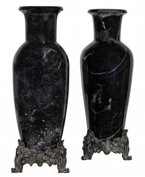 A Pair Of Large Regency Style Bronze Mounted Black Marble Vases