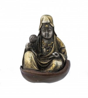 An Antique Japanese Mixed Metal Edo-Meiji Period Buddha Form Ojime Bead