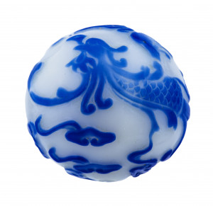 An Antique Chinese Phoenix Decorated Large Peking Glass Bead