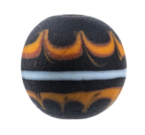 An Antique Fire Burst Decorated Japanese Glass Ojime Bead