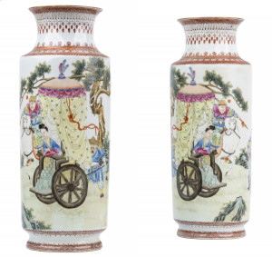 A Pair of Republic Signed Chinese Porcelain Famille Rose Vases