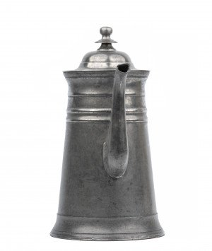 An Early American Pewter Covered Copper Botton Lidded Coffee Pot