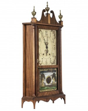 An Antique 19th Century Eli Terry and Sons Pillar and Scroll Shelf Clock