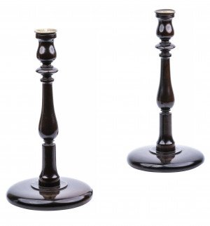 A Pair Of English Style Carved Candlesticks