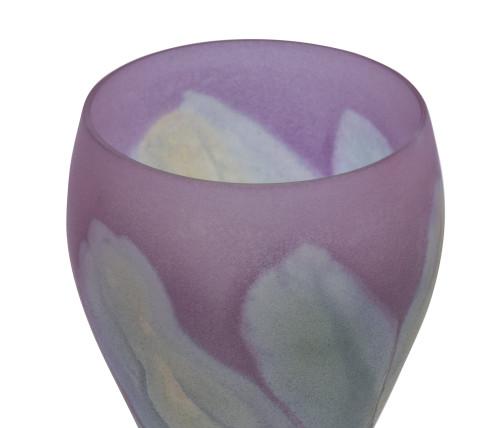 A Vintage Hand Painted Nouveau Art Glass Lily Stem Glass Vase