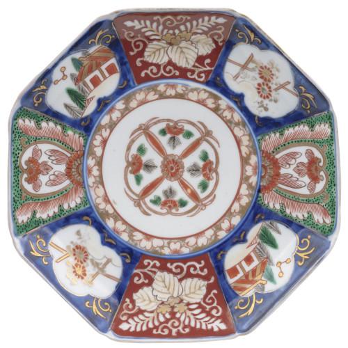 An Antique Octogonal Japanese Porcelain Imari Cabinet Plate