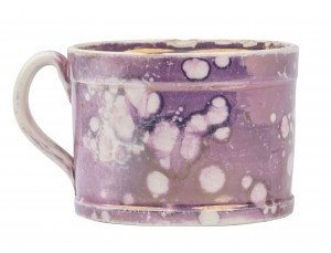 An Antique Pink Splatter Lustreware Childs Cup