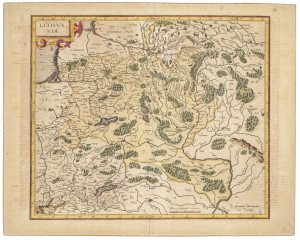 An Antique 17th-18th Century European Map of Lithvania