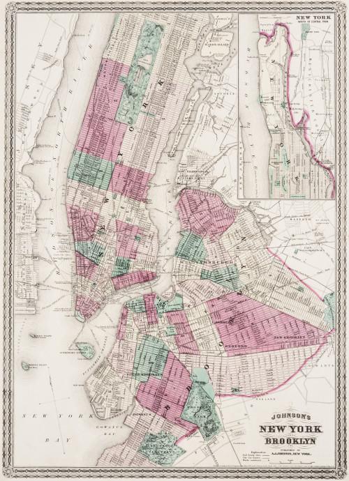 An Antique A.J. Johnsons Map Of New York & Brooklyn 1866