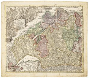An Antique Map Bernensis of Kanton of Bern,  Geneva, Lucerne & Basel Circa 1750 By Georg Matthäus Seutter