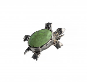 A Vintage Southwest Style Turquoise Inlaid Sterling Silver Turtle Pin