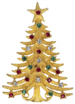 A Vintage Costume Jewelry Inlaid Christmas Tree Pin