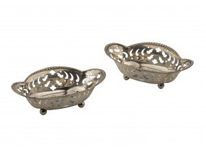 A Pair Of Tiffany & Co. Antique Sterling Silver Miniature Tableware Baskets