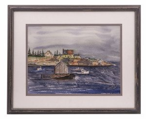 An Original J.E. Vine Maritime Shore Scene Watercolor 87'