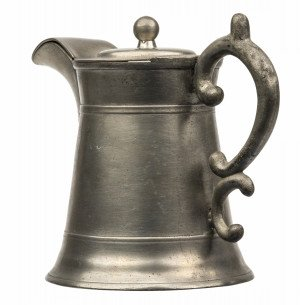 An Early American Antique James Putnam Pewter Teapot & Cover
