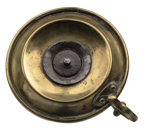 An Antique 19th Century Turned Brass Chamberstick Candlestick