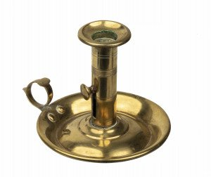 An Antique 19th Century Turned Brass Chamberstick Candlestick