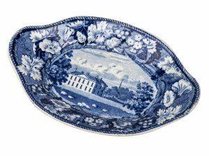 An Antique Blue Historical Staffordshire Gravy Tureen Undertray Cokethorpe Park, Oxfordshire from the Grapevine Border Series by Wood