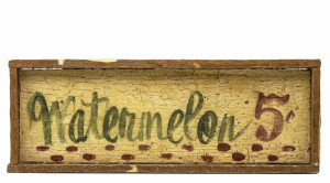 A Vintage Wooden Painted Primitive Watermelon 5 Cents Sign