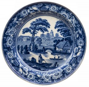 An Antique Historic Blue Staffordshire Transfer Printed Cabinet Plate