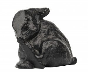 A Vintage Cast Metal Black Painted Rabbit Door Stop 18-18
