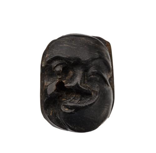 An Antique Buffalo Horn Japanese Honne & Tatemae Form Ojime Bead