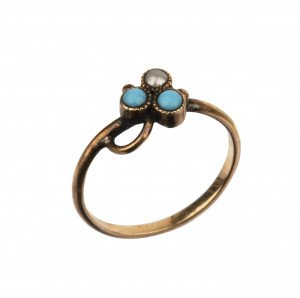 An Antique Faux Pearl & Turquoise Inlaid Childs Ring