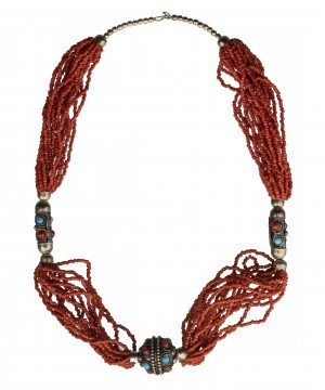 A Vintage Coral & Glass Decorated Multi Strand Necklace