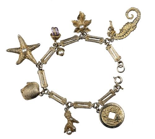 A Vintage Ocean Theme Coral, Starfish, & Shells Inlaid, Charm Bracelet