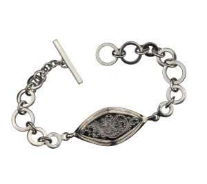 A Sterling Silver Lois Hill Chain Link Repousse Decorated Bracelet