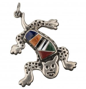 A Contemporary Southwest Inlaid Silver Lizard Form Pendant