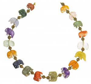 An Antique Chinese Elephant Decorated Chinese Hardstone & Coral Necklace
