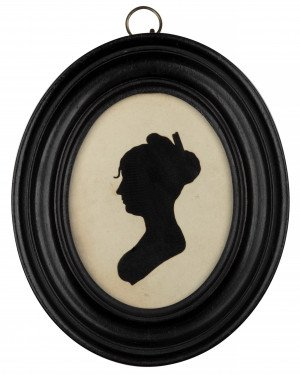 An Antique Signed & Dated Silhouette Portrait Of a Lady