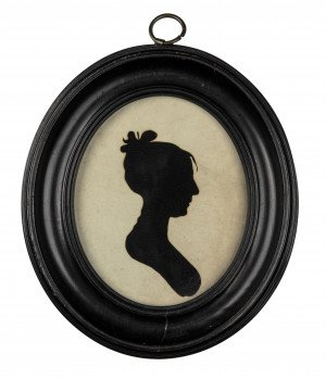 An Antique Framed Signed Antique Silhouette Portait Of A Lady