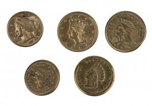 A Set Of Early American Coin Theme Buttons
