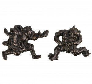 A Pair Of Antique Japanese Edo-Meiji Era Figural Sword Fittings