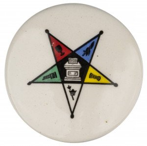 A Large Vintage Star Symbol Decorated Pottery Button