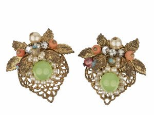 A Pair Of Vintage Coro Faux jade Coral & Pearl Decorated Orientalist Style Earrings