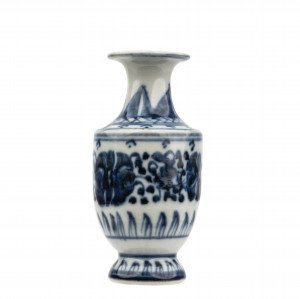 A Chinese Blue & White Porcelain Scroll Decorated Bottle Vase