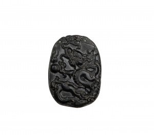 A Vintage Chinese Hardstone Dragon Pendant
