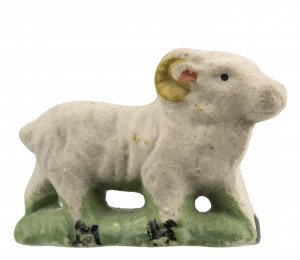 An Antique Miniature Polychrome Decorated English Pottery Model Of a Ram