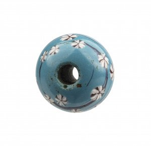 An Antique Japanese Teal Ground Glass Ojime Bead