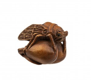 A Japanese Inlaid Signed Wooden Carved Cicada Ojime Bead