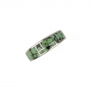 A Vintage Inlaid Turquoise Southwestern Sterling Ring Size 5.5