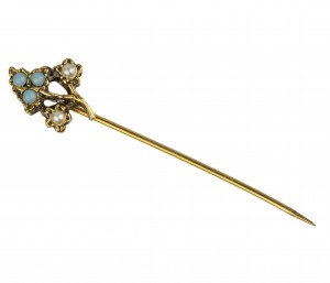 A Vintage Tree Form Faux Pearl & Turquoise Stick Pin