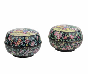 A Pair Of Chinese Antique Famille Enamel Decorated Weiqi Boxes & Covers