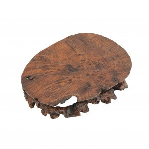 A Chinese Natural Wooden Carved Flat Burl Decorated Vase Stand