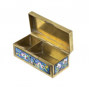 A Vintage Chinese Enamel Decorated Stationary Table Box