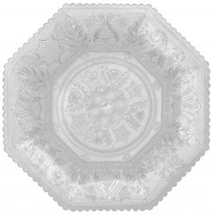 """An Antique EAPG Lacy Sandwich Glass Beehive & Thistle Octagonal Dish 9.25"""""""