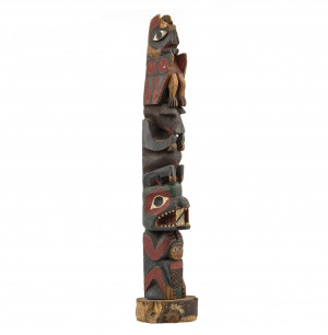 A Native American Antique Polychrome Carved Wood Model Totem